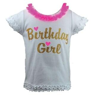 "Reflectionz Baby Girls Hot Pink Gold ""Birthday Girl"" Ruffle T-Shirt 12-18M"
