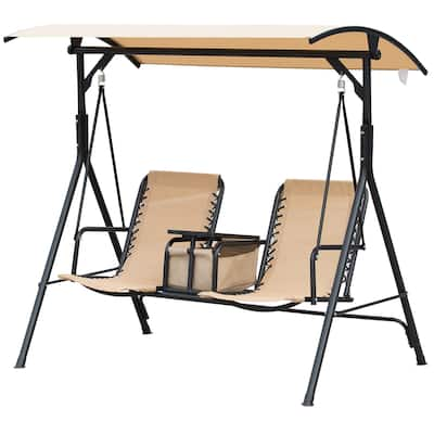 Outsunny 2 Person Covered Porch Swing with Pivot Storage Table, Cup Holder, & Sling Fabric with Adjustable Comfort, Beige