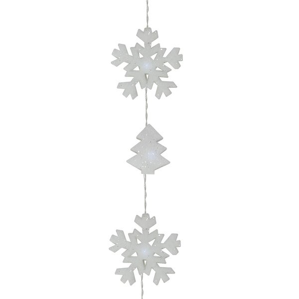 Set of 12 Battery Operated LED Snowflake and Tree Christmas Lights - Clear Wire