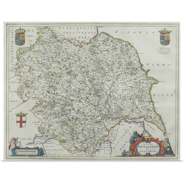 Shop Poster Print Entitled Map Of Yorkshire England Multi Color