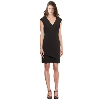 Lauren Ralph Lauren Stretch Crepe V-Neck Cap Sleeve Dress - 12