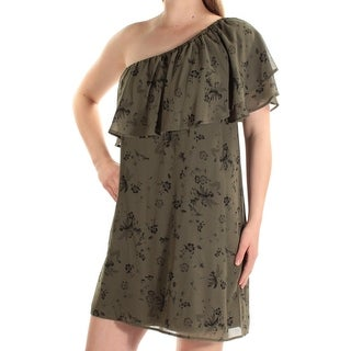 Womens Green Floral Above The Knee Shift Dress Size: XL