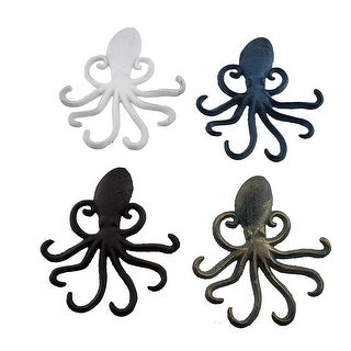 4 Piece Colorful Octopus Shaped Cast Iron Wall Hook Set - 6.5 X 5.75 X 0.75 inches