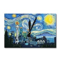 Seattle WA Van Gogh Starry Night - LP Artwork (Acrylic Wall Clock) - acrylic wall clock