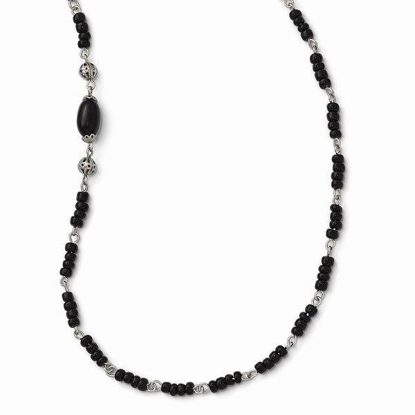 Silvertone Acrylic & Silvertone Bead Necklace - 36in