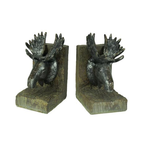 Rustic Distressed Moose Head Bookends - 7.75 X 5.25 X 4 inches