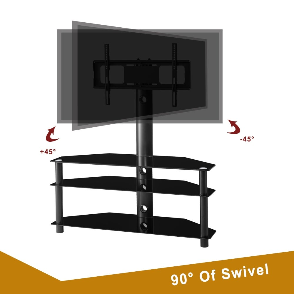 Swivel Floor Tv Stand With Mount Height Adjustable Universal 3 Tier Tv Standfor 32 65 Inch Lcd Led Flat Or Curved Screen Tv Overstock 31491303