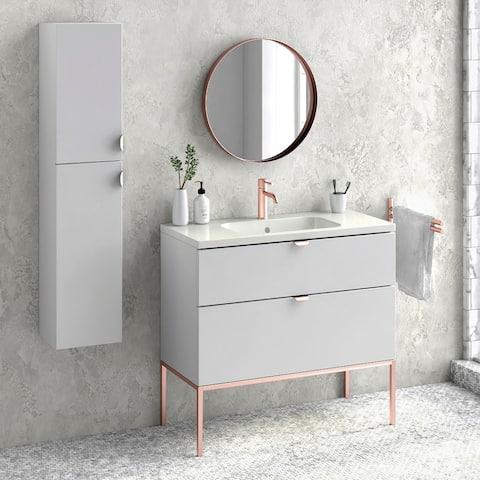 "40"" Bathroom Vanity Cabinet + Ceramic Sink Set Aspen W 40 X H 35 X D 18 in RHD White"