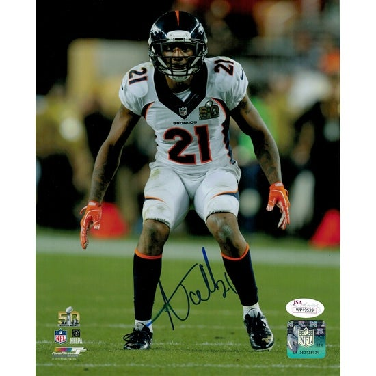 Aqib Talib Autographed Denver Broncos 8x10 Photo Super Bowl 50 JSA