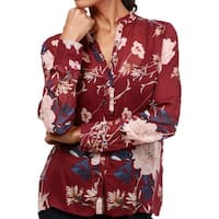 Lucky Brand Red Womens Size Medium M Sheer Button Down Blouse