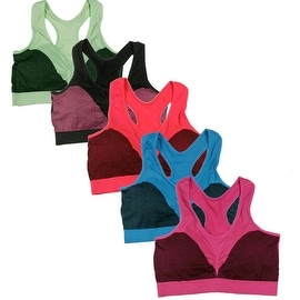 Women's 6 Pack Seamless Stylish Print Racer Back Athletic Sports Yoga Bras