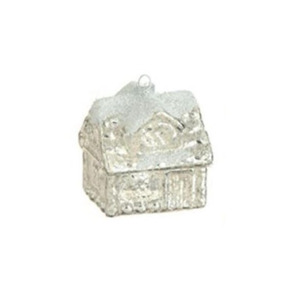 "3"" Snowy Time Silver Glass Cottage House Lighted Christmas Ornament"