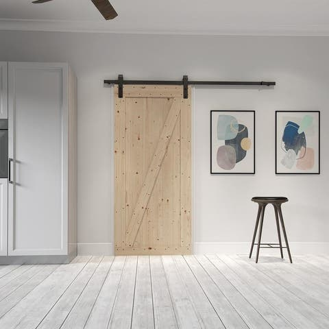 Farm Style Sliding Door, Unfinished with Sliding Door Hardware Kit