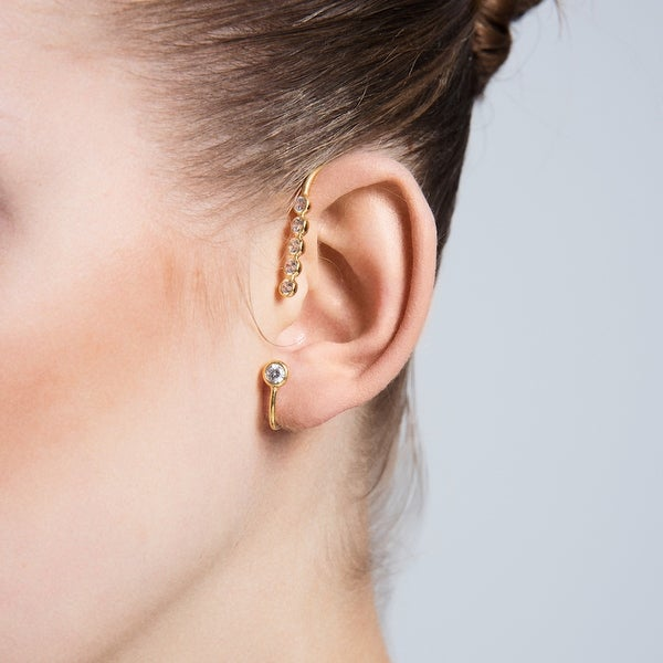 Amorium Magnolia Ear Cuff in 18k Gold Plated Sterling Silver