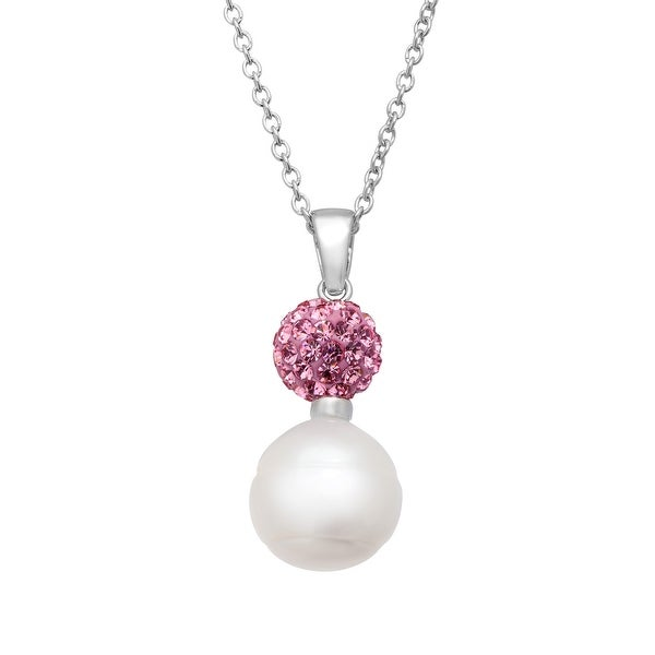 Freshwater Pearl Drop Pendant with Pink Swarovski elements Crystals in Sterling Silver