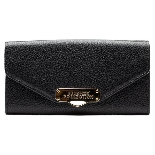 Versace Collection Oro Chiaro Chain Crossbody Leather Handbag - Black - S