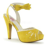 Pin Up Couture Women's Bettie 01 Ankle-Strap Sandal Yellow Faux Leather