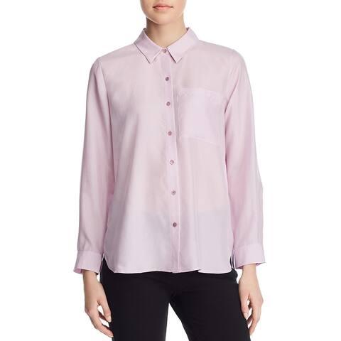 Eileen Fisher Womens Blouse Silk Classic Collar - Mallow
