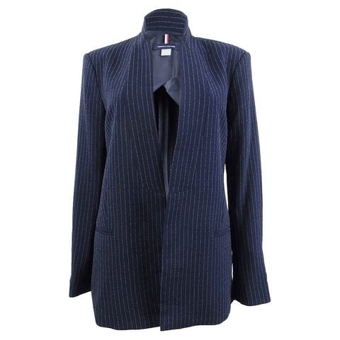 Tommy Hilfiger Women's Pinstriped Open-Front Jacket - Midnight/Ivory