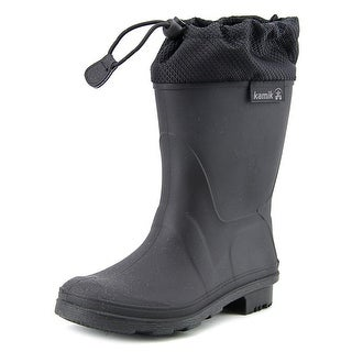 Kamik Waterfight Youth Round Toe Synthetic Black Rain Boot