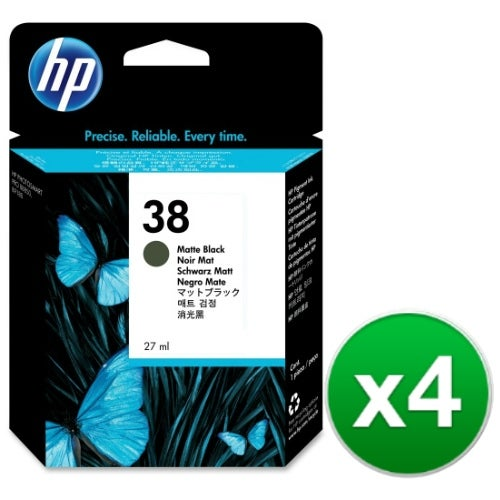 HP 38 Matte Black Pigment Original Ink Cartridge (C9412A) (4-Pack)