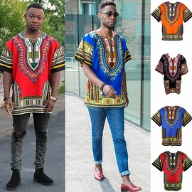 UNISEX Dashiki Men's Adult Summer Casual Loose Short Sleeve Cotton Jersey Kaftan T-Shirt