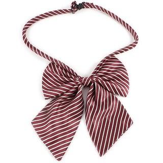Unique Bargains Women Girls Adjustable Bow Tie Clip Necktie Dark Red White