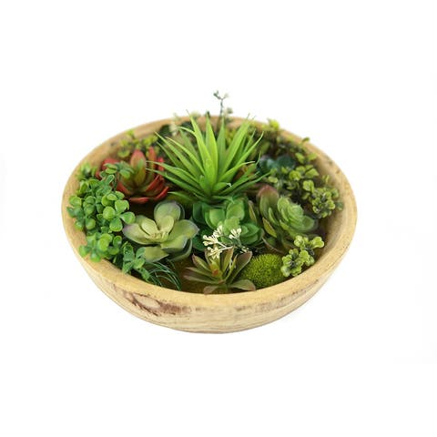 MODA MDW-1030.5-0909 wood pot with plastic plant - 12.01*12.01*5.12 inches