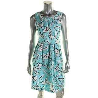 Jessica Howard Womens Petites Casual Dress Floral Print Pleated
