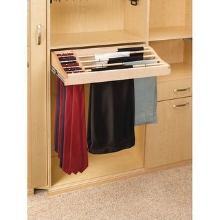 """Rev-A-Shelf CWPTR-3014-2 CWPR Series 30"""" Classic Wood Pull Out Rack for 12 Pairs of Pants and 30 Ties"""