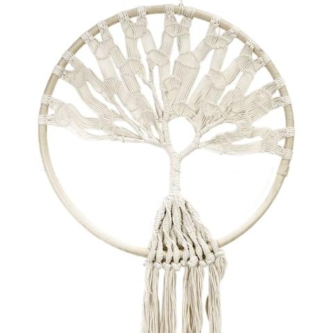 "Macrame Hoop W/Tree Of Life 51"" Wall Hanging-"