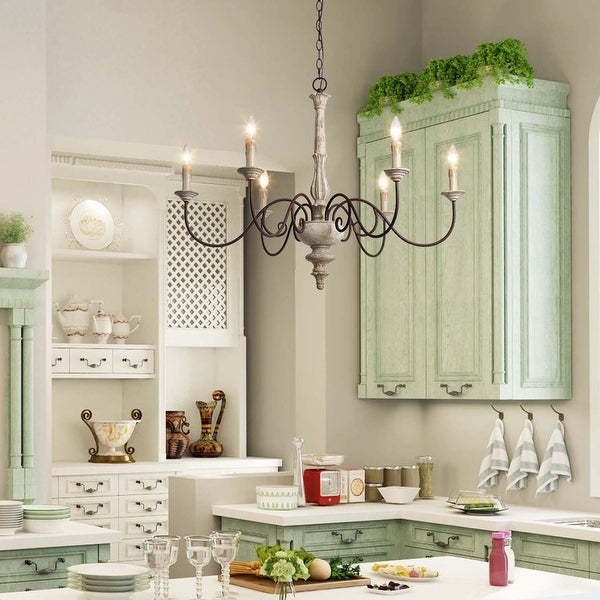 """The Gray Barn Stable View 6-light Rustic French Country Island Chandelier for Kitchen - D39""""* H38"""". Opens flyout."""