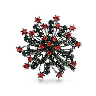 Bling Jewelry Christmas Wreath Crystal Holiday Pin Black Rhodium Plated