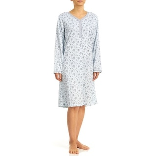 Body Touch Women's Brushed Inside Long Sleeve Nightgown