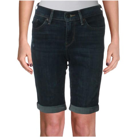Levi's Womens Denim Shorts Embroidered Mid-Rise