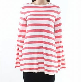 Caslon Red Womens Small S Striped Tie Bell-Sleeve Pullover Sweater