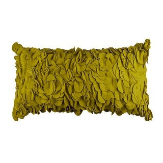 Boho Yellow Gold Fuzzy Textured Decorative Handmade Throw Pillow Cover, 12x20