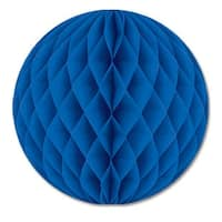 """Club Pack of 12 Blue Honeycomb Hanging Tissue Ball Party Decorations 12"""""""
