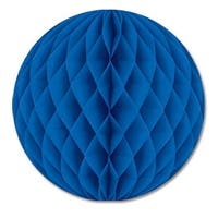 """Club Pack of 24 Blue Honeycomb Hanging Tissue Ball Party Decorations 12"""""""