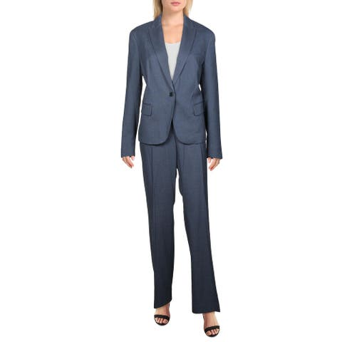 Anne Klein Womens One-Button Suit 2PC Work Wear - Marine Blue Combo - 12