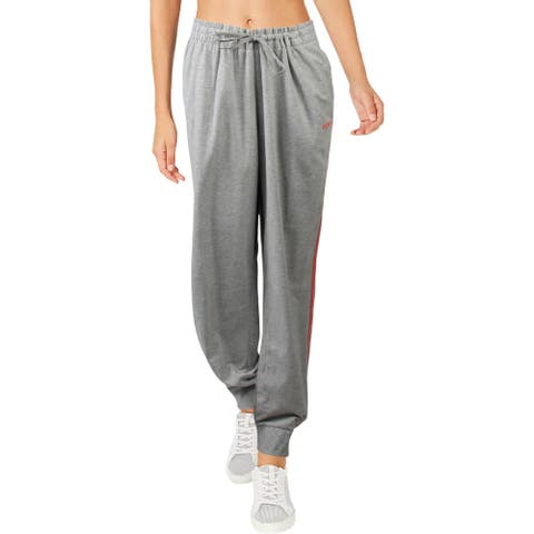 Adidas Womens Athletic Pants Workout Slim - Medium Grey Heather/Prism Pink - 2XL