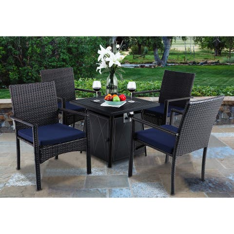 """PHI VILLA 28"""" Gas Fire Pit Table with 4 Rattan Chairs, 5 Piece Propane Fire Pit Setwith 5Kg Fire Glass"""