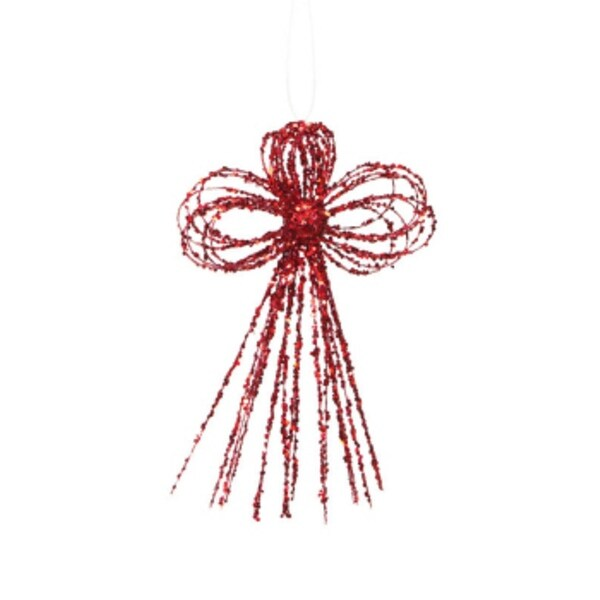 """Pack of 24 Mod Holiday Red Glittered Bow Christmas Ornaments 10"""""""