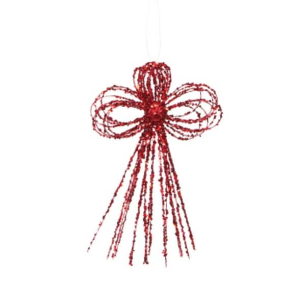 Pack of 6 Mod Holiday Red Glittered Bow Christmas Ornaments 10""