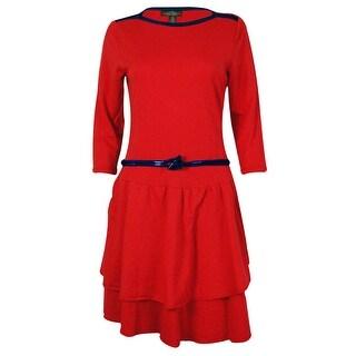 Lauren by Ralph Lauren Women's Solid Color Corded Belt Dress