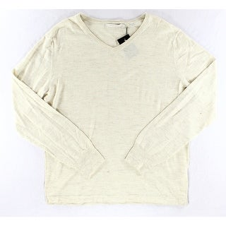 7 Diamonds NEW Solid Beige Mens Size XL Ribbed V-Neck Wool Sweater