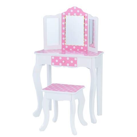Teamson Kids - Fashion Polka Dot Prints Gisele Play Vanity Set with LED Mirror Light - Pink / White