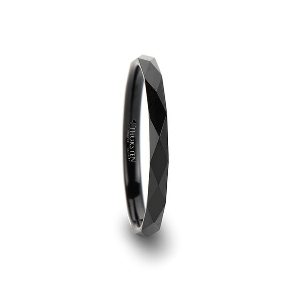 THORSTEN - MIAMI Diamond Faceted 2mm Black Tungsten Ring for Women