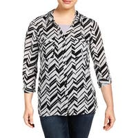 NY Collection Womens Button-Down Top Printed Work Wear - XL