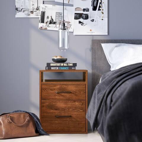 Tall 2-drawer nightstand Oak with shelf